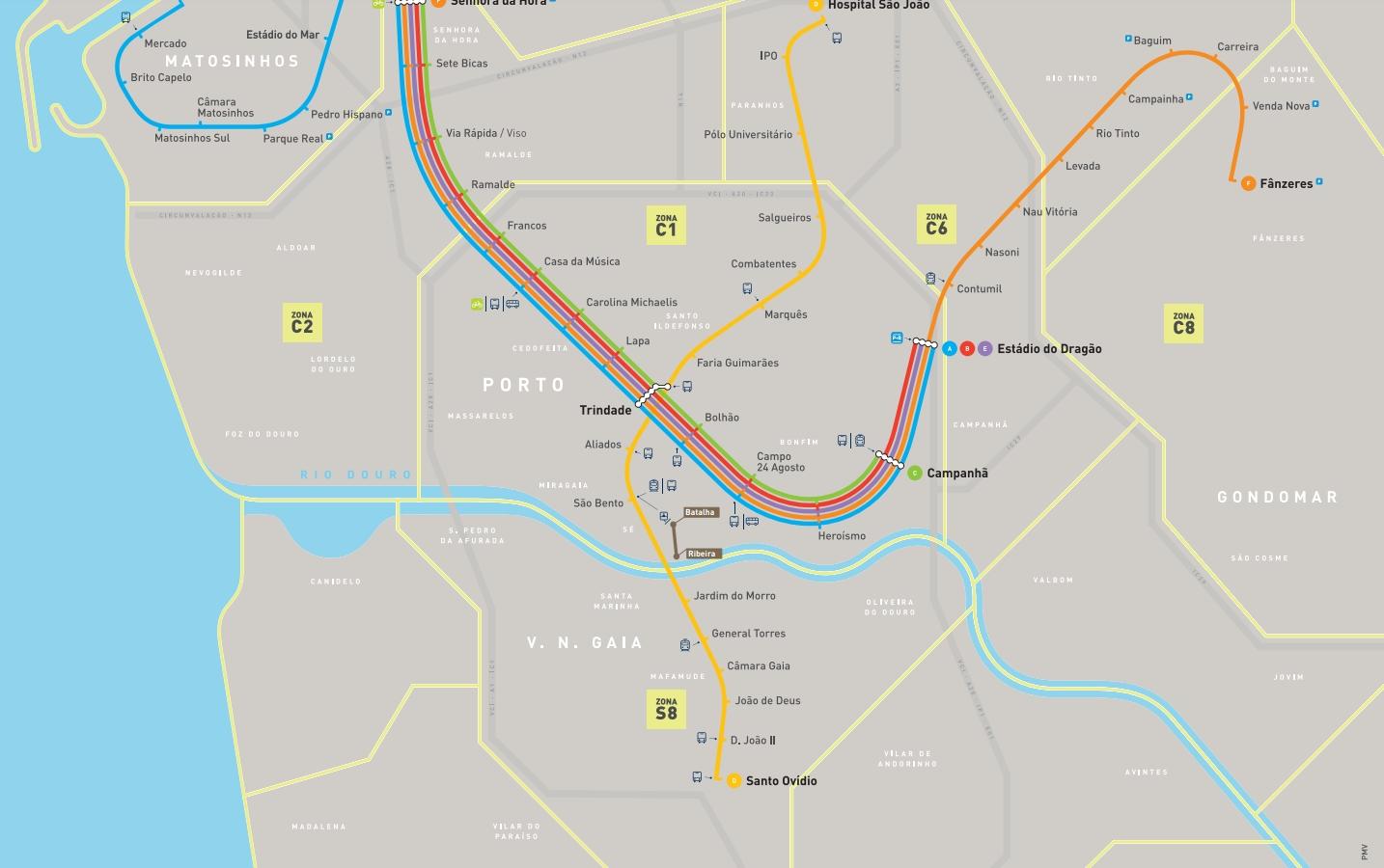 ポルトメトロ路線図